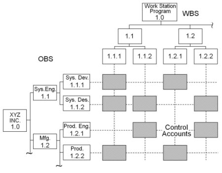 EVM: Intersection of the WBS and OBS establishes the control accounts